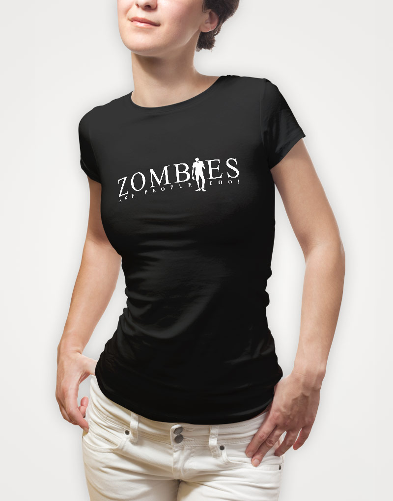 zombies-are-people-too-womens-black-tshirt
