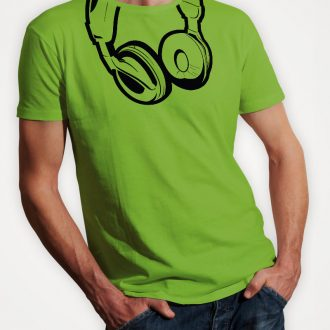 headphones-mens-lime-green-tshirt