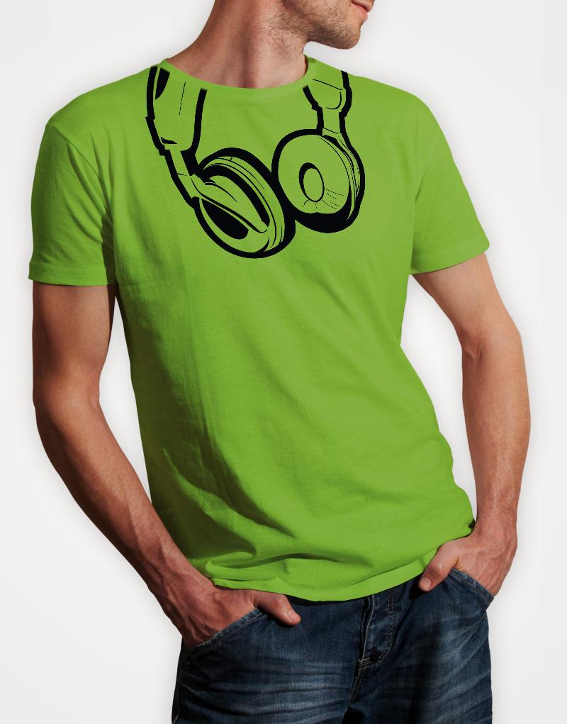 headphones-mens-lime-green-tshirt